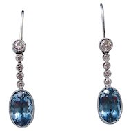 Natural Aquamarine & Diamond Wedding Day Birthstone  Dangle Earrings 14K