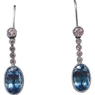Natural Aquamarine & Diamond Wedding Day Birthstone  Dangle Earrings 14K