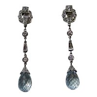 Vintage Estate Art Deco Natural Aquamarine & Diamond Earrings Platinum