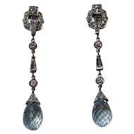 Vintage Estate Art Deco Aquamarine & Diamond Wedding Day Birthstone Anniversary Earrings Platinum