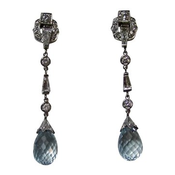 Vintage Estate Art Deco Natural Aquamarine & Diamond Earrings Platinum