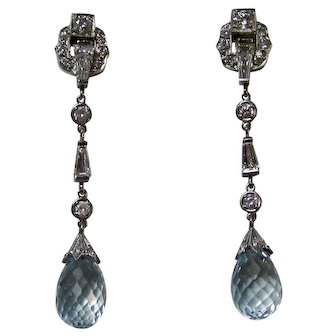 Vintage Estate Art Deco Aquamarine & Diamond Wedding Day Birthstone Anniversary Earrings Platinum
