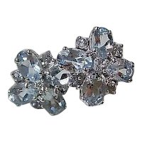 Vintage Estate Natural Aquamarine Cluster Wedding Day Birthstone Earrings 14K
