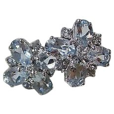Vintage Estate Natural Aquamarine Cluster Wedding Day Birthstone Earrings 14K