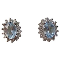 Vintage Estate Aquamarine Diamond Wedding Day Birthstone Earrings 14K