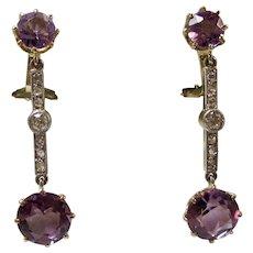 Vintage Estate Natural Amethyst & Diamond Dangle Earrings 14K