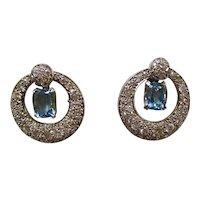 Vintage Estate 1950's Natural Aquamarine Diamond Dangle Earrings Platinum