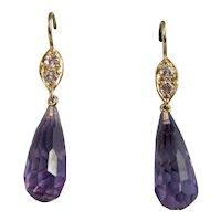 Estate Amethyst & Diamond Dangle Earrings 18K