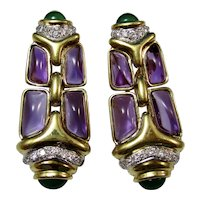 Large Estate Natural Amethyst Emerald Diamond Drop 9.25 Carat Earrings 18K