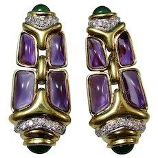 Large Estate Natural Amethyst Emerald Diamond Drop 9.25 Carat Earrings 18K