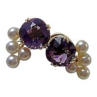 Vintage Estate Natural Amethyst & Cultured Pearl Earrings 14K