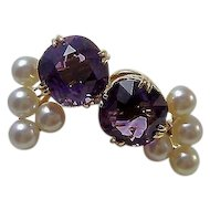 Vintage Estate Wedding Day Birthstone Anniversary Natural Amethyst & Cultured Pearl Earrings 14K