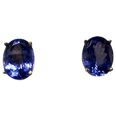 Vintage Estate Birthstone Wedding Day Tanzanite Earrings 14K