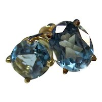 Estate Natural Blue Topaz Birthstone Earrings 14K