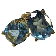 Estate Natural Blue Topaz Birthstone Earrings 14K