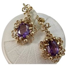 Vintage Estate Natural Amethyst Birthstone Wedding Day Drop Earrings 14K