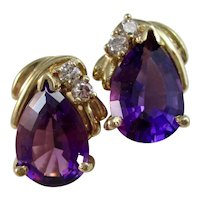 Vintage Estate Amethyst & Diamond Earrings 14K
