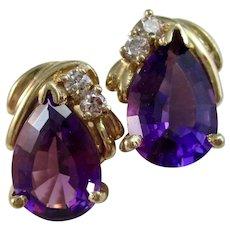 Vintage Estate Amethyst & Diamond Earrings 14K