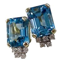 Vintage Estate Blue Topaz & Diamond Earrings 14K