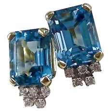 Vintage Estate Blue Topaz & Diamond Wedding Day Birthstone Earrings 14K