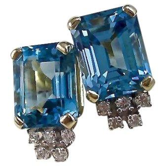 Vintage Estate Blue Topaz & Diamond Wedding Day Birthstone Earrings 14K