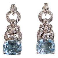 Vintage Estate Blue Topaz & VS Diamond Dangle Earrings 14K