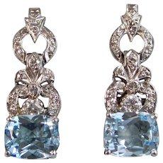 Vintage Estate Blue Topaz & VS Diamond Dangle Earrings 14K