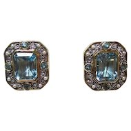 Natural Blue Topaz & Akoya Cultured Pearl Birthstone Anniversary Estate Earrings 18K