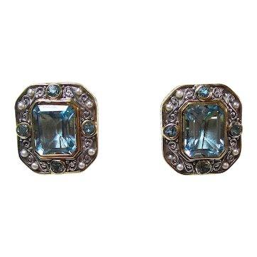 Estate Natural Blue Topaz & Akoya Cultured Pearl Earrings 18K