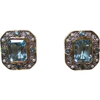 Natural Blue Topaz & Akoya Cultured Pearl Birthstone Anniversary Estate Earrings 18K
