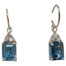 Estate Wedding Day Birthstone Blue Topaz Dangle Earrings 14K