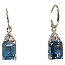 Estate Wedding Day  Blue Topaz Dangle Earrings 14K