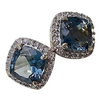 Vintage Estate Blue Topaz & Diamond Wedding Halo Earrings 14K