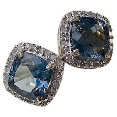 Vintage Estate Blue Topaz & Diamond Wedding Birthstone Halo Earrings 14K