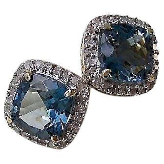 Vintage Estate Blue Topaz & Diamond Wedding Birthstone Halo Earrings 14K