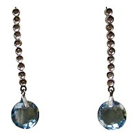 Vintage Estate Natural Blue Topaz & Diamond Dangle Earrings 14K