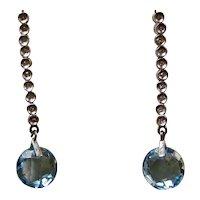 Vintage Estate Natural Blue Topaz & Diamond Dangle Earrings 14K