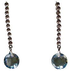 Vintage Estate Wedding Day Anniversary Birthstone Natural Blue Topaz & Diamond Earrings 14K