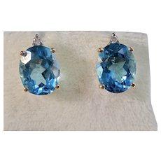 Vintage Estate Wedding Day Blue Topaz Earrings 14K