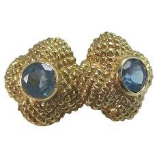 Vintage Estate Blue Topaz Earrings 14K