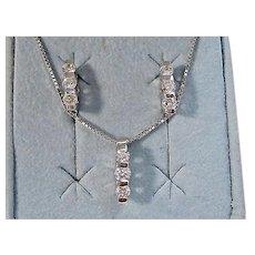 Vintage Estate Wedding Day Diamond Birthstone Necklace & Earrings Set 14K