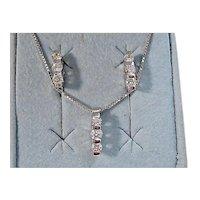Vintage Estate Wedding Day Diamond Necklace & Earrings Set 14K White Gold