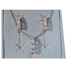 Vintage Estate Wedding Day Diamond Birthstone Necklace & Earrings Set 14K