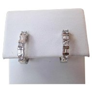 Estate Wedding Birthstone Anniversary Diamond Hoop Earrings 14K