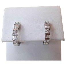 Estate Wedding Birthstone Anniversary Diamond Hoop Earrings 14K