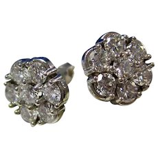 Vintage Estate Wedding Day Diamond Cluster Earrings 14K