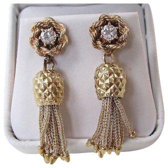 Large 1950's Diamond Dangle Wedding Birthstone Anniversary Estate Earrings 14K