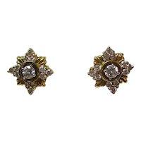 Diamond Estate Wedding Earrings 18K Yellow Gold