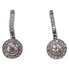 Estate Art Deco 1920's Wedding Day Anniversary Birthstone Dangle Diamonds Platinum