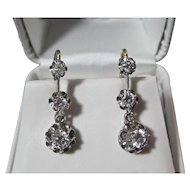 Diamond Dangle Estate Wedding Birthstone Earrings 14K